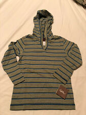 New TEA COLLECTION Boy's Striped Knit Hoodie Blue Green Size 5 NWT