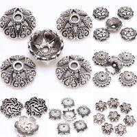 15/25/100Pcs Tibetan Silver Floral Printed Loose Spacer Bead Caps Findings DIY