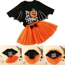 Infant Baby Girls Halloween Cartoon Print Romper Bodysuit+Tulle Skirts Outfits