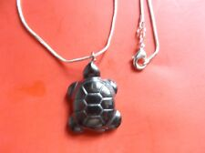 """Beautiful Carved Black Hematite Tortoise-Turtle Necklace W/ Hq 20"""" Silver Chain"""
