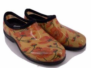 Orange Floral sloggers Rain Waterproof Garden Rubber Shoes Womens size 9 Slip On