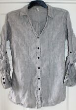 M&S Sz 14 uk Striped 100% Linen Tunic Shirt/Blouse w/ Pockets & Tie Back
