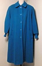 Penguin Wool Coat Sz. 12 Teal Flared Buttons Pockets Satin Lined  #1229 H