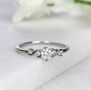 Dainty Five Stone Engagement Ring Minimalist Ring Promise Ring Silver Rose Gold