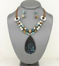 Verdigris Patina Drop Pendant Lucite And Silver Tone Bead Necklace Earring