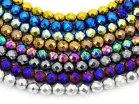 Natural Hematite Gemstone Faceted Round Beads Metallic Colors 15.5'' 4mm 6mm 8mm