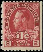 Canada #MR5 mint F OG NH 1916 King George V Admiral 2c carmine War Tax CV$60.00