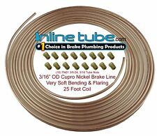 Copper Nickel Brake Line Tubing Kit 3/16 OD 25 Foot Coil Roll & 3/8-24 Fittings