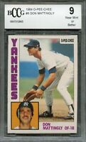1984 o-pee-chee #8 DON MATTINGLY yankees rookie card (50-50 CENTERED) BGS BCCG 9