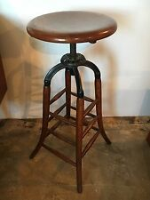 Antique Industrial Oak Cast Iron Adjustable Swivel Drafting Stool