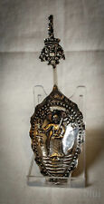 Antique Dutch Silver Preserve Spoon Embossed Decoration 1850-1899