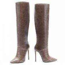 Women Patchwork Pointy Toe Stilettos High Heel Mid Calf Boots Size 34-45 Runway