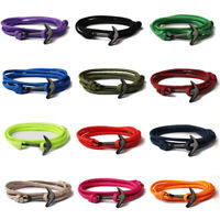 Handmade Men's Black Alloy Anchor Polyester Rope Wristband Bracelet Jewelry NEW