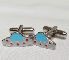 UFO FLYING SAUCER CUFFLINKS - IN GIFT POUCH BRAND NEW 20MM MENS GIFT BIRTHDAY
