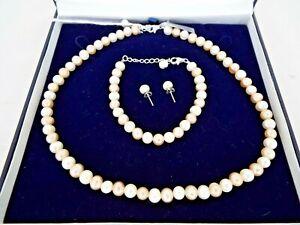 Pearl & Silver necklace bracelet earrings set Boxed