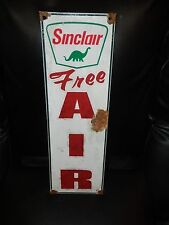 Antique style-porcelain look Sinclair Dino oil gas dealer pump sign free air