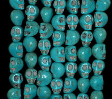 """10X8MM  TURQUOISE GEMSTONE BLUE CARVED SKULL HEAD LOOSE BEADS 16"""""""