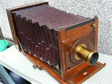 "ANTIQUE WOODEN CAMERA  LEJEUNE ? & RAYMENTS PATENT CAMERA & PLATES 12"" x 10"""