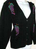 SUSAN BRISTOL-Black/Purple Vintage Pure Wool Hand Embroidered Cardigan -Size- M*
