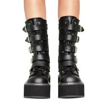 Womens Gothic Round Toe Buckle Strap Med Platform Heel Punk Mid Calf Boots Shoes
