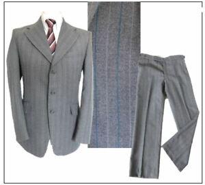 """CO OP Tailor Mates Vintage 1980's Mens 2 piece suit Ch40""""S W36"""" L29"""" Grey Stripe"""
