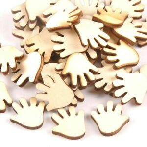 50pcs Cute Hand Shaped Wood Slices For DIY Scrapbooking Baby Cards Making Decor