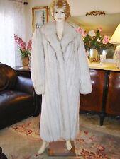 """Designed Genuine  50"""" long Norwegian Blue White Fox fur Coat!  Quality!  Medium"""