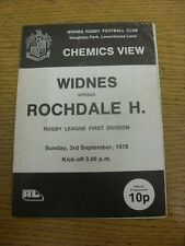 03/09/1978 Rugby League Programme: Widnes v Rochdale Hornets (creased, marked).