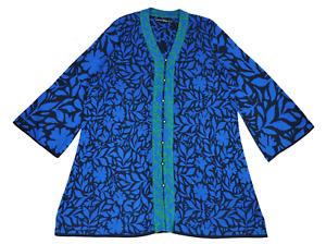 GUDRUN SJODEN SJÖDÉN 3/4 Sleeve Button Up Wool Blend Cardigan Sweater size XXL