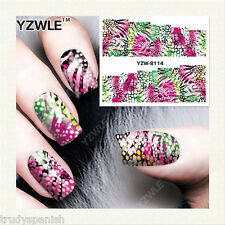 Nail Art Water Decals Wraps Neon Pretty Pink Leopard Print Spots Gel Polish 8114