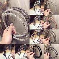 Women Crystal Rhinestone Big Bow Double Fine Side Hairband Hair Hoop Headband