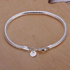 Elegant 925 Silver Plated Bracelet 3mm Snake Chain Bangle Unisex Jewelry Gift