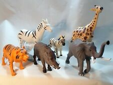 Lot of 6 Wild Animals Toy Figures Plastic Rubber  Zebra Elephant Giraffe Zoo