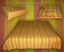 Grand beau Couvre-lit 100% coton coloris rose et jaune - CCB9