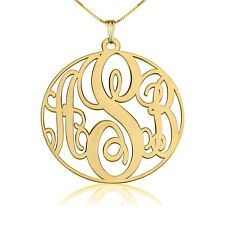 """Circle Monogram Necklace 24k Gold Plated 1.2""""  Initial Name Pendant- oNecklace ®"""