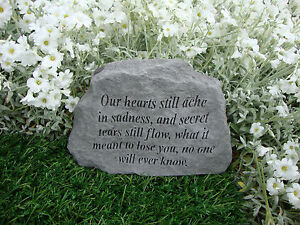 Family Memorial Garden Stone Plaque Grave Marker Ornament our hearts still ache