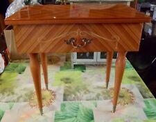 Ancienne Table de Chevet pied Compas poignée Coquille 1970 Vintage Scandinave