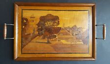 Vintage Handmade Wooden Inlay Butlers Serving Tray
