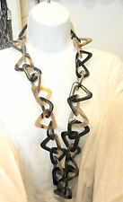 monies ethnic tribal long horn massive necklace links chain dead stock triangles