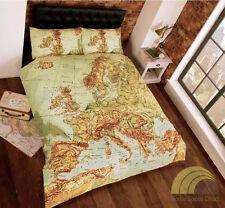 Rapport Vintage Mappa Atlas Europa Trapunta Copripiumino Set federe