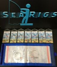 Sea Fishing, 2 Hook Pulley (Pennel)  Rigs 15 x 3/0 + 3/0 with Blue Rig Wallet