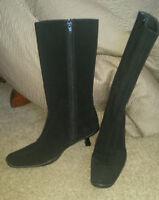 Stuart Weitzman Gore-Tex black mid calf kitten heel boots Great US 8 M