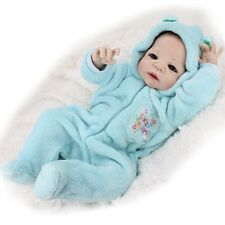 "22"" Full Body Silicone Boy Doll Reborn LifelikeBaby Dolls Blue Clothes w Bottle"
