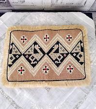 Set of 6 Vtg Peruvian Hand Woven 100% Alpaca Wool Burlap Table Placemats Peru