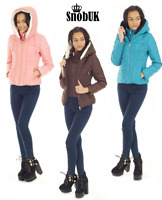 Ladies Padded Jacket Women's Winter Coat Quilted DOWN Hooded Funnel Neck Lined