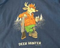 Vintage Funny Deer Hunter Humor Blue 1980s Blue Crewneck Sweatshirt Size XL