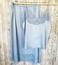 Vtg Emilio Pucci Formfit Rogers 34 Camisole Med Tall Half Slip Blue Lace Set