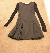 Pre-owned Moonbasa Women's long lace sleeve black skater dress SZ:S
