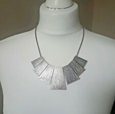 """Statement Silver Brutalist Necklace Bib on a 19"""" + 2.5"""" Silver Tone Snake Chain"""