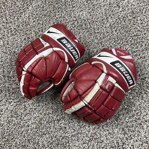 """Nike Bauer Vapor XXXX Dri Fit Red White Ice Hockey Gloves Size Sr. 13"""" GUC"""